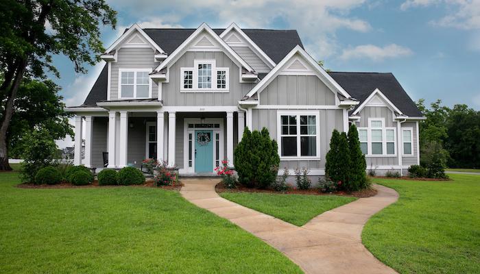 grey house lawn